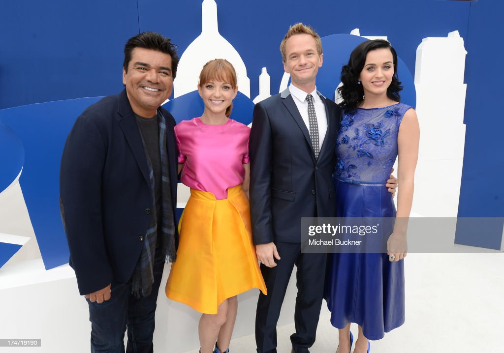 Actors <a gi-track='captionPersonalityLinkClicked' href=/galleries/search?phrase=George+Lopez&family=editorial&specificpeople=202546 ng-click='$event.stopPropagation()'>George Lopez</a>, <a gi-track='captionPersonalityLinkClicked' href=/galleries/search?phrase=Jayma+Mays&family=editorial&specificpeople=2294638 ng-click='$event.stopPropagation()'>Jayma Mays</a>, <a gi-track='captionPersonalityLinkClicked' href=/galleries/search?phrase=Neil+Patrick+Harris&family=editorial&specificpeople=210509 ng-click='$event.stopPropagation()'>Neil Patrick Harris</a> and <a gi-track='captionPersonalityLinkClicked' href=/galleries/search?phrase=Katy+Perry&family=editorial&specificpeople=599558 ng-click='$event.stopPropagation()'>Katy Perry</a> attend the Los Angeles premiere of 'The Smurfs 2' at Regency Village Theatre on July 28, 2013 in Westwood, California.