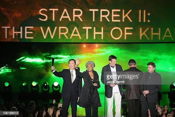 Actors George Takei Nichelle Nichols William Shatner Leonard Nimoy and Walter Koenig accept the 25th Anniversary Reunion 'Star Trek II The Wrath of...