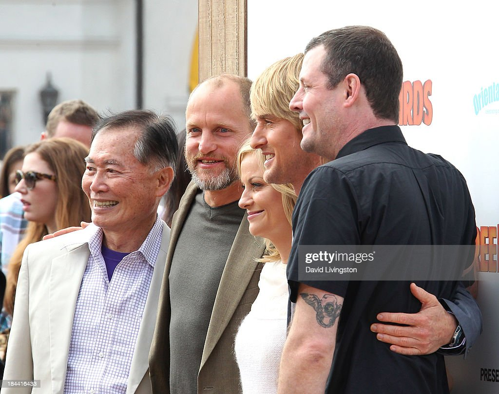 Actors <a gi-track='captionPersonalityLinkClicked' href=/galleries/search?phrase=George+Takei&family=editorial&specificpeople=1534988 ng-click='$event.stopPropagation()'>George Takei</a>, <a gi-track='captionPersonalityLinkClicked' href=/galleries/search?phrase=Woody+Harrelson&family=editorial&specificpeople=208923 ng-click='$event.stopPropagation()'>Woody Harrelson</a>, <a gi-track='captionPersonalityLinkClicked' href=/galleries/search?phrase=Amy+Poehler&family=editorial&specificpeople=228430 ng-click='$event.stopPropagation()'>Amy Poehler</a> and <a gi-track='captionPersonalityLinkClicked' href=/galleries/search?phrase=Owen+Wilson&family=editorial&specificpeople=202027 ng-click='$event.stopPropagation()'>Owen Wilson</a> and director Jimmy Hayward attend the premiere of Relativity Media's 'Free Birds' at the Westwood Village Theatre on October 13, 2013 in Westwood, California.