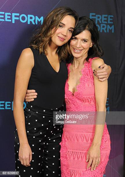 Actors Georgie Flores and Perrey Reeves arrive at the 2017 Winter TCA Tour Disney/ABC at the Langham Hotel on January 10 2017 in Pasadena California