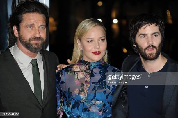 Actors Gerard Butler Abbie Cornish and Jim Sturgess attend the premiere of Warner Bros Pictures' 'Geostorm' on October 16 2017 at the TCL Chinese...