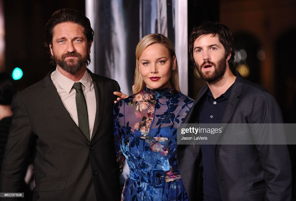 Actors Gerard Butler, Abbie Cornish and Jim Sturgess attend the premiere of 'Geostorm' at TCL Chinese Theatre on October 16, 2017 in Hollywood, California.