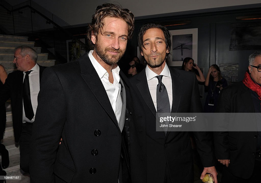 Actors <a gi-track='captionPersonalityLinkClicked' href=/galleries/search?phrase=Gerard+Butler+-+Actor&family=editorial&specificpeople=202258 ng-click='$event.stopPropagation()'>Gerard Butler</a> and <a gi-track='captionPersonalityLinkClicked' href=/galleries/search?phrase=Adrien+Brody&family=editorial&specificpeople=202175 ng-click='$event.stopPropagation()'>Adrien Brody</a> arrive at the Montblanc Cocktail Party co-hosted by Harvey and Bob Weinstein celebrating the Weinstein Company's Academy Award Nominees and the New Montblanc Charity Partnership with the Princess Grace Foundation-USA at Soho House on February 26, 2011 in West Hollywood, California.