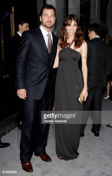 Actors Gerard Butler and Gaia Bermani Amaral attend Tom Ford Boutique Opening during Milan Fashion Week Spring/Summer 2009 on June 23 2008 in Milan...