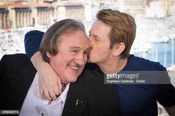 Actors Gerard Depardieu and Benoit Magimel attend the 'Marseille' Netflix TV series world premiere at Palais Du Pharo on May 4 2016 in Marseille...