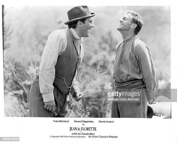 Actors Gerard Depardieu and Daniel Auteuil in a scene from the movie 'Jean de Florette' circa 1986
