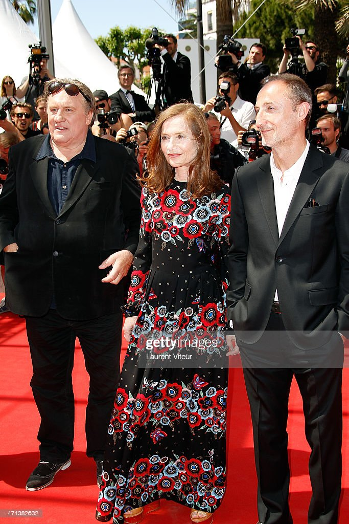 Actors Gerard Depardieu and Isabelle Huppert and Director Guillaume Nicloux attend the 'Valley Of Love' premiere during the 68th annual Cannes Film Festival on May 22, 2015 in Cannes, France.