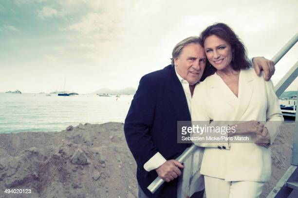 Actors Gerard Depardieu with Jacqueline Bisset pose during the 67th Cannes Film Festival on May 17 2014 in in CannesFrance