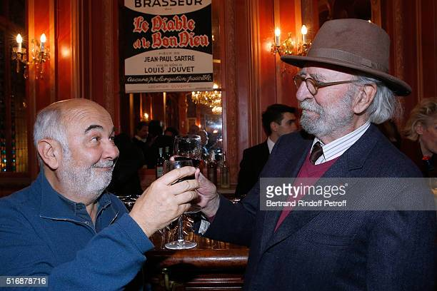 Actors Gerard Jugnot and JeanPierre Marielle attend the 'L'Etre ou pas' Theater play at Theatre Antoine on March 21 2016 in Paris France