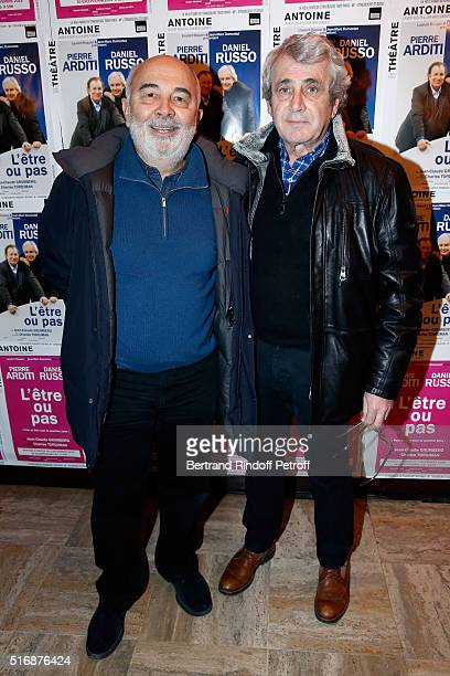 Actors Gerard Jugnot and Michel Boujenah attend the 'L'Etre ou pas' Theater play at Theatre Antoine on March 21 2016 in Paris France