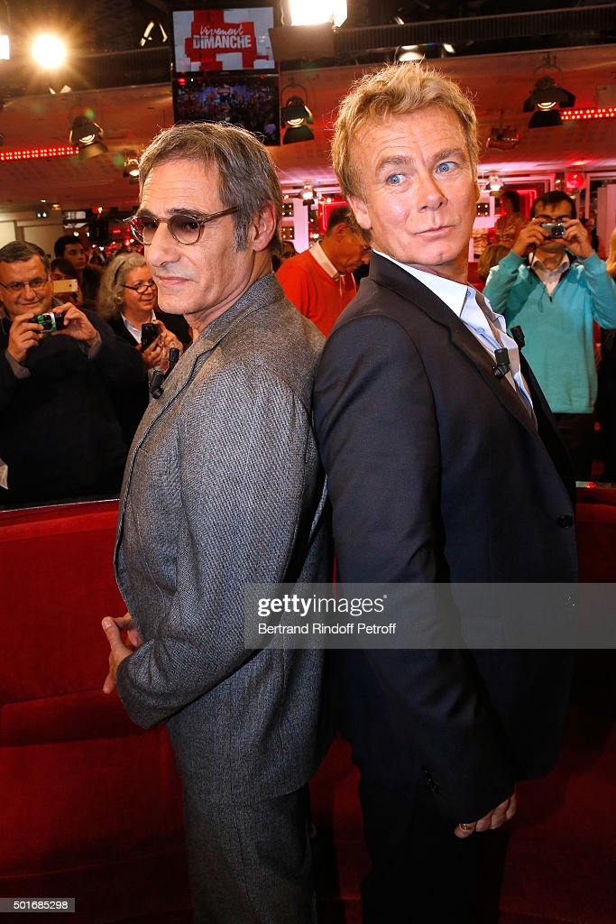 Actors Gerard Lanvin and Franck Dubosc present the Movie 'Pension complete' during the 'Vivement Dimanche' French TV Show at Pavillon Gabriel on December 16, 2015 in Paris, France.