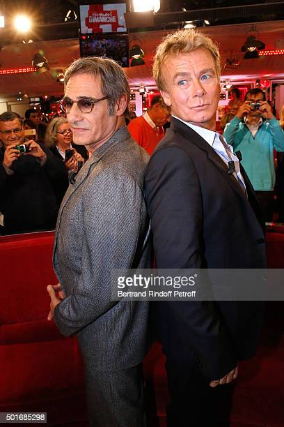 Actors Gerard Lanvin and Franck Dubosc present the Movie 'Pension complete' during the 'Vivement Dimanche' French TV Show at Pavillon Gabriel on...
