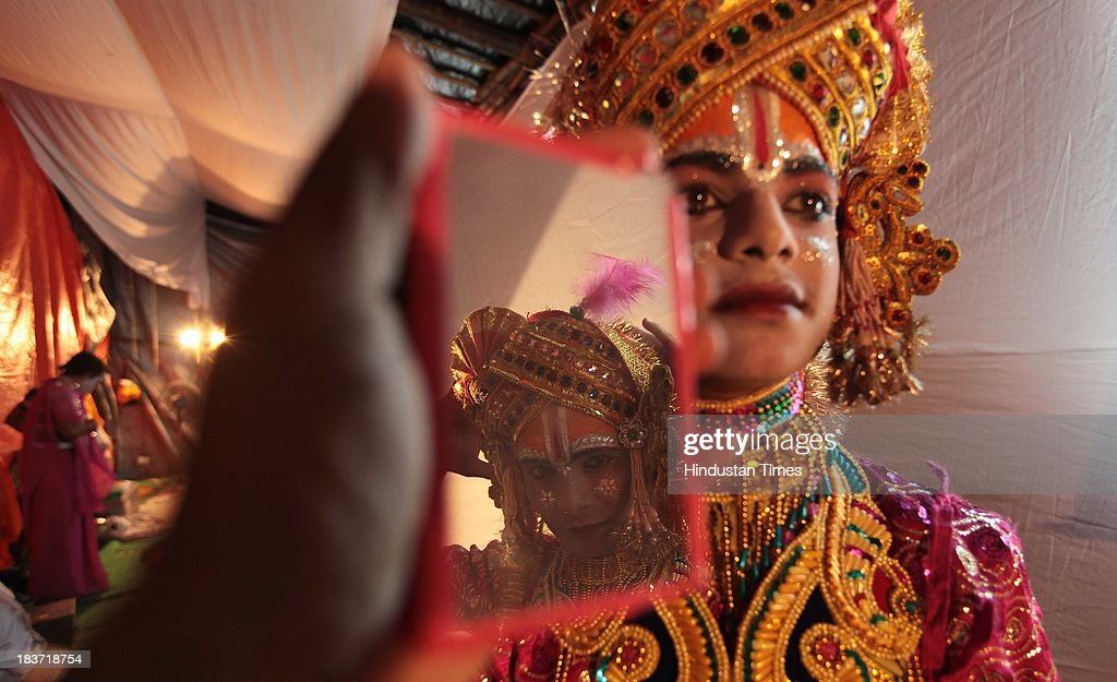 Actors getting ready for the Ramleela performance at Azad Maidan in a function organised by Maharashtra Ramleela Mandal on October 9, 2013 in Mumbai, India. Ramlila is a dramatic folk re-enactment of the life of Hindu Lord Rama's victory after a ten day battle with the ten headed Demon King Ravana.