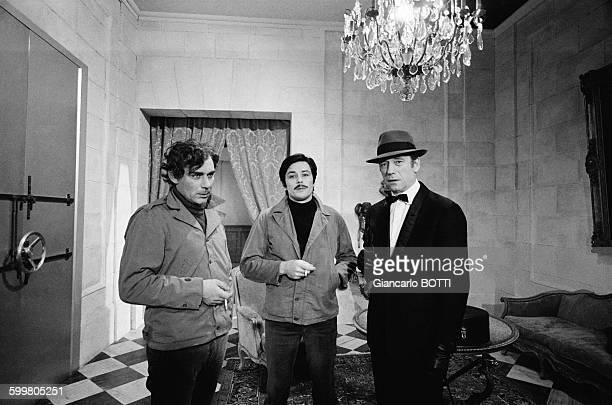 Actors Gian Maria Volonte Alain Delon And Yves Montand On The Set Of The Movie 'Le Cercle Rouge' Directed By JeanPierre Melville In Paris France In...