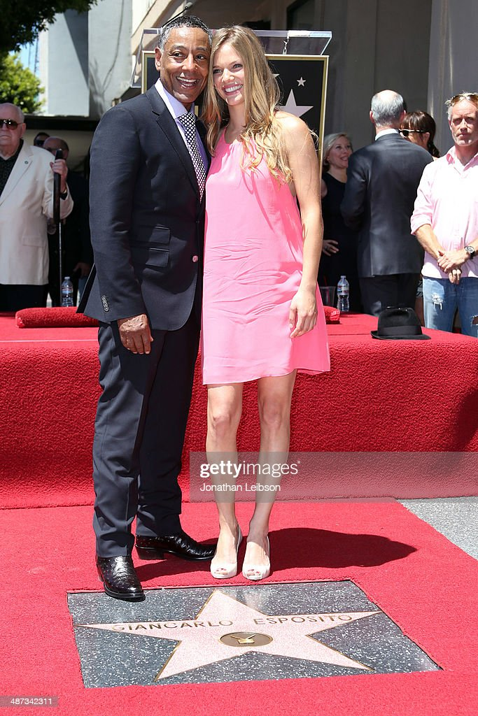Actors Giancarlo Esposito and Tracy Spiridakos attend the ceremony honoring Giancarlo Esposito with a Star on the Hollywood Walk of Fame on April 29...
