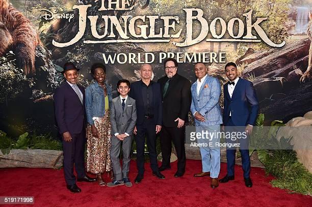 Actors Giancarlo Esposito Lupita Nyong'o Neel Sethi Sir Ben Kingsley director Jon Favreau actors Russell Peters and Ritesh Rajan attend The World...