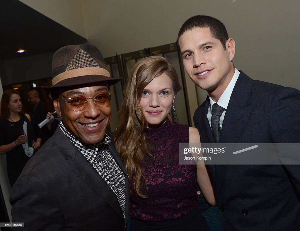Actors Giancarlo Esposito, Tracy Spiridakos, and JD Pardo pose backstage at the 39th Annual People's Choice Awards at Nokia Theatre L.A. Live on January 9, 2013 in Los Angeles, California.