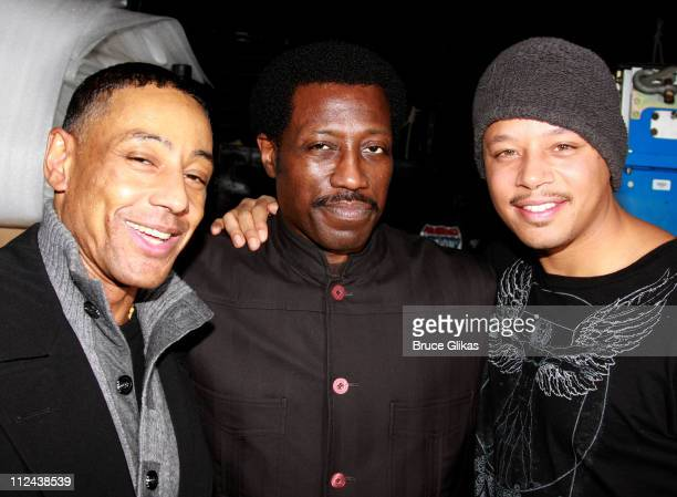 Actors Giancarlo Esposito Wesley Snipes and Terrence Howard pose backstage where Aretha Franklin celebrated her 66th Birthday with friends and The...