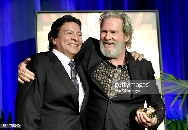 Actors Gil Birmingham and Jeff Bridges pose onstage at the American Riviera Award from at the Arlington Theatre on February 9 2017 in Santa Barbara...
