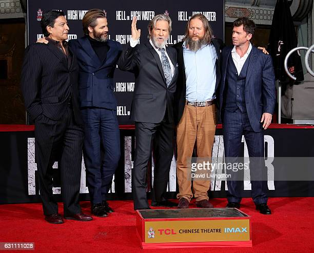 Actors Gil Birmingham Chris Pine and Jeff Bridges director David Mackenzie and writer Taylor Sheridan attend the Jeff Bridges Hand and Footprint...