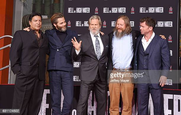 Actors Gil Birmingham Chris Pine and Jeff Bridges director David Mackenzie and writer Taylor Sheridan attend Jeff Bridges hand and footprint ceremony...