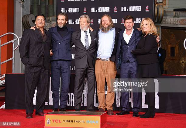 Actors Gil Birmingham Chris Pine and Jeff Bridges director David Mackenzie writer Taylor Sheridan and producer Julie Yorn attend Jeff Bridges hand...