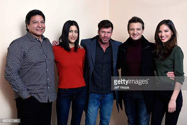 Actors Gil Birmingham Julia Jones filmmaker Taylor Sheridan actors Jeremy Renner and Kelsey Asbille from the film 'Wind River' poses for a portrait...