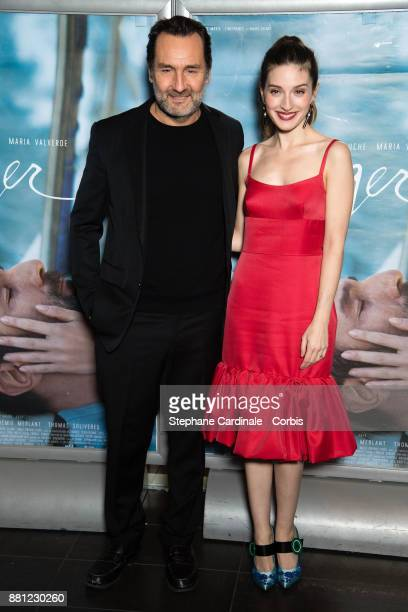 Actors Gilles Lellouche and Maria Valverde attends the 'Plonger' Premiere at Mk2 Bibliotheque on November 28 2017 in Paris France