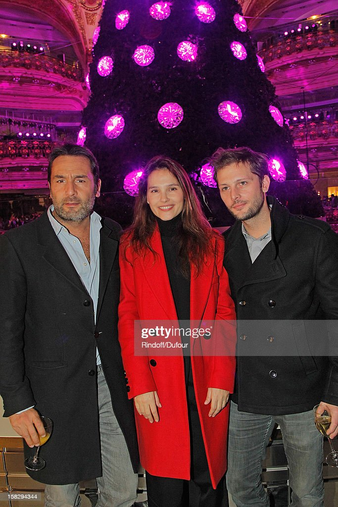 Actors <a gi-track='captionPersonalityLinkClicked' href=/galleries/search?phrase=Gilles+Lellouche&family=editorial&specificpeople=626596 ng-click='$event.stopPropagation()'>Gilles Lellouche</a>, <a gi-track='captionPersonalityLinkClicked' href=/galleries/search?phrase=Virginie+Ledoyen&family=editorial&specificpeople=206954 ng-click='$event.stopPropagation()'>Virginie Ledoyen</a> and <a gi-track='captionPersonalityLinkClicked' href=/galleries/search?phrase=Nicolas+Duvauchelle&family=editorial&specificpeople=3029663 ng-click='$event.stopPropagation()'>Nicolas Duvauchelle</a> attend the Galeries Lafayette 100th Anniversary Bal on December 12, 2012 in Paris, France.