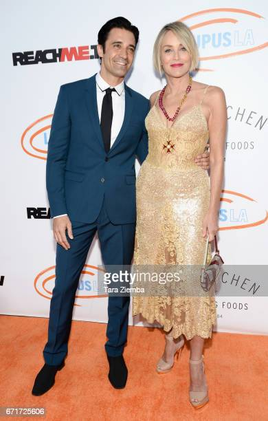 Actors Gilles Marini and Sharon Stone attend Lupus LA's 2017 Orange Ball Rocket To A Cure at California Science Center on April 22 2017 in Los...