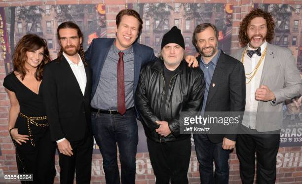Actors Gina Gershon George Basil creator/Executive Producer Pete Holmes actor Artie Lange director Judd Apatow and actor TJ Miller attend HBO's...
