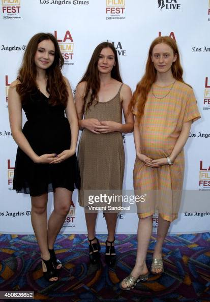 Actors Gina Piersanti Hannah Gross and India Menuez attend the premiere of 'Uncertain Terms' during the 2014 Los Angeles Film Festival at Regal...