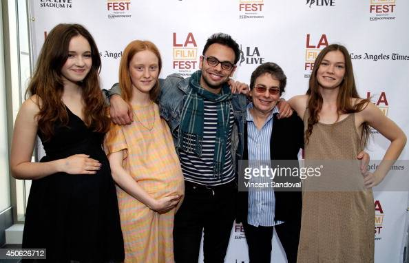 Actors Gina Piersanti India Menuez director/writer Nathan Silver actors Cindy Silver and Hannah Gross attend the premiere of 'Uncertain Terms' during...