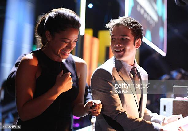 Actors Gina Rodriguez and Nathan Kress backstage at the 2014 Young Hollywood Awards brought to you by Samsung Galaxy at The Wiltern on July 27 2014...