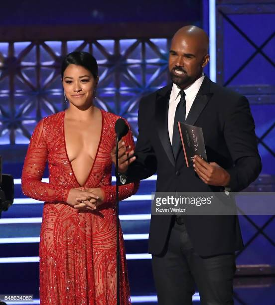 Actors Gina Rodriguez and Shemar Moore speak onstage during the 69th Annual Primetime Emmy Awards at Microsoft Theater on September 17 2017 in Los...