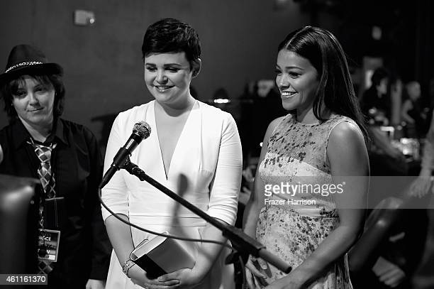 Actors Ginnifer Goodwin and Gina Rodriguez backstage during The 41st Annual People's Choice Awards at Nokia Theatre LA Live on January 7 2015 in Los...
