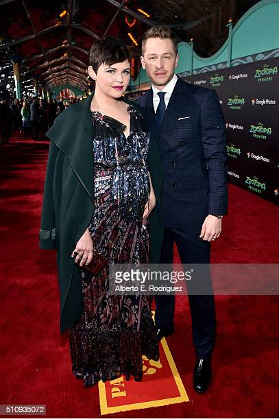 Actors Ginnifer Goodwin and Josh Dallas attend the Los Angeles premiere of Walt Disney Animation Studios' 'Zootopia' on February 17 2016 in Hollywood...