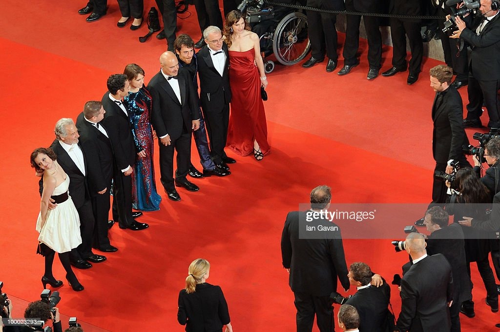 Actors Giorgio Colangeli, actress Isabella Ragonese, actress Alina Berzenteanu,actor Elio Germano ,director Daniele Luchetti, actress Stefania Montorsi and actors Raoul Bova and Luca Zingaretti attend the 'Our Life' Premiere at the Palais des Festivals during the 63rd Annual Cannes Film Festival on May 20, 2010 in Cannes, France.