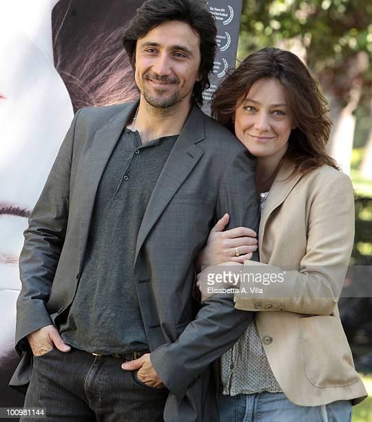 Actors Giovanna Mezzogiorno and Massimo De Santis attend 'Sono Viva' photocall at Villa Borghese on May 26 2010 in Rome Italy
