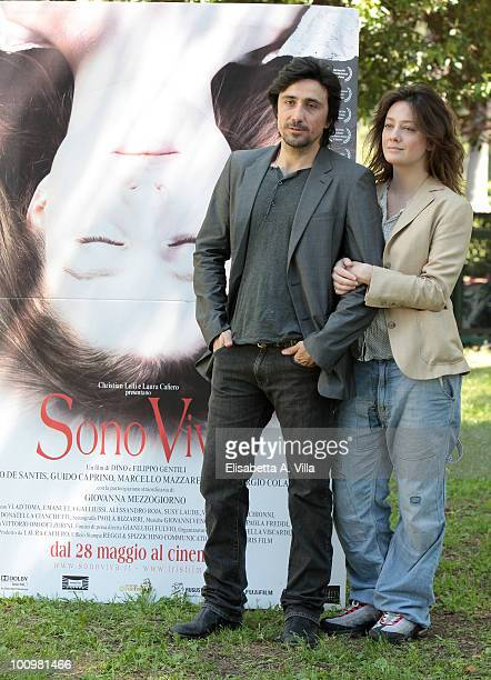 Actors Giovanna Mezzogiorno and Massimo De Santis attend 'Sono Viva' photocall at Villa Borghese on May 26 2010 in Rome Italy