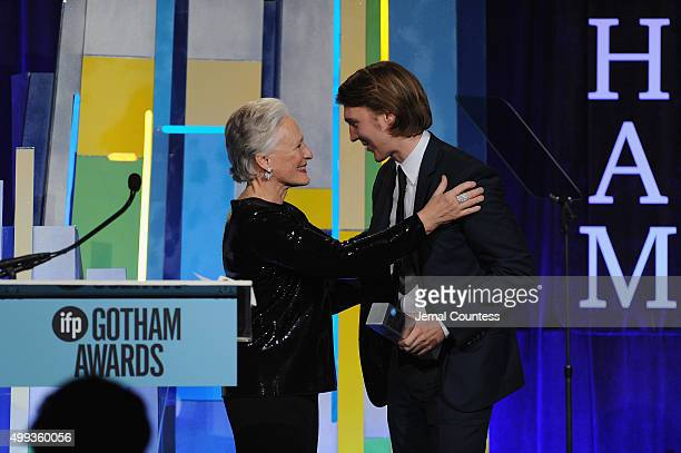 Actors Glenn Close and Paul Dano speak onstage at the 25th IFP Gotham Independent Film Awards cosponsored by FIJI Water at Cipriani Wall Street on...