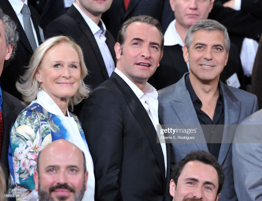Actors Glenn Close Jean Dujardin and George Clooney attend the 84th Academy Awards Nominations Luncheon at The Beverly Hilton hotel on February 6...