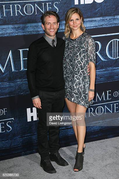 Actors Glenn Howerton and Jill Latiano arrive at the premiere of HBO's 'Game of Thrones' Season 6 at the TCL Chinese Theatre on April 10 2016 in...