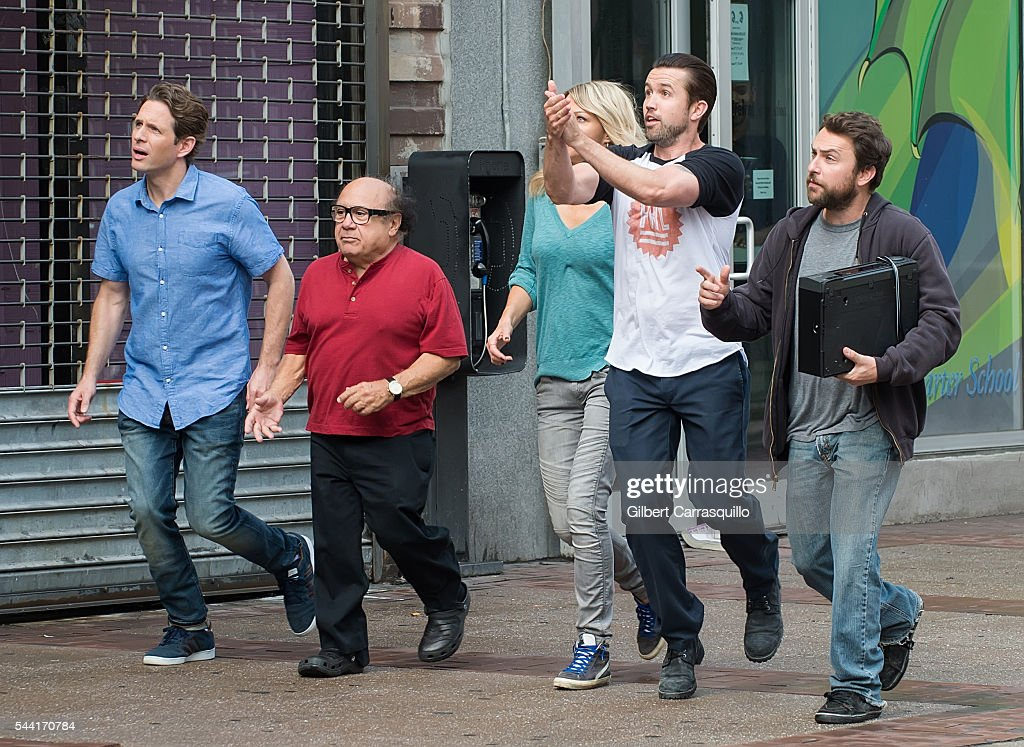 Actors <a gi-track='captionPersonalityLinkClicked' href=/galleries/search?phrase=Glenn+Howerton&family=editorial&specificpeople=537733 ng-click='$event.stopPropagation()'>Glenn Howerton</a>, <a gi-track='captionPersonalityLinkClicked' href=/galleries/search?phrase=Danny+DeVito&family=editorial&specificpeople=210718 ng-click='$event.stopPropagation()'>Danny DeVito</a>, <a gi-track='captionPersonalityLinkClicked' href=/galleries/search?phrase=Kaitlin+Olson&family=editorial&specificpeople=537734 ng-click='$event.stopPropagation()'>Kaitlin Olson</a>, <a gi-track='captionPersonalityLinkClicked' href=/galleries/search?phrase=Rob+McElhenney&family=editorial&specificpeople=537737 ng-click='$event.stopPropagation()'>Rob McElhenney</a> and <a gi-track='captionPersonalityLinkClicked' href=/galleries/search?phrase=Charlie+Day&family=editorial&specificpeople=537731 ng-click='$event.stopPropagation()'>Charlie Day</a> are seen filming scenes of season 12 of 'It's Always Sunny In Philadelphia' sitcom on July 1, 2016 in Philadelphia, Pennsylvania.