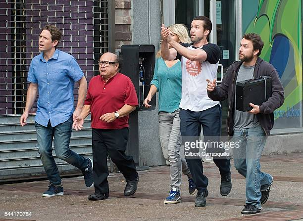 Actors Glenn Howerton Danny DeVito Kaitlin Olson Rob McElhenney and Charlie Day are seen filming scenes of season 12 of 'It's Always Sunny In...