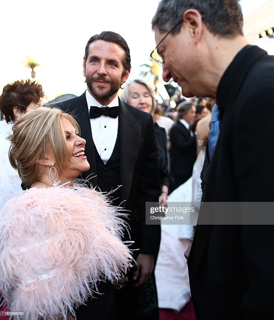 Actors Gloria Cooper, Bradley Cooper and writer Tony Kushner arrive at the Oscars held at Hollywood & Highland Center on February 24, 2013 in Hollywood, California.