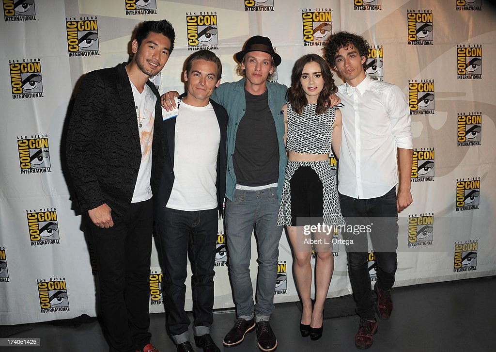 Actors Godfrey Gao, Kevin Zegers, Jamie Campbell Bower, Lily Collins, and Robert Sheehan attend the Sony and Screen Gems panel during Comic-Con International 2013 at San Diego Convention Center on July 19, 2013 in San Diego, California.
