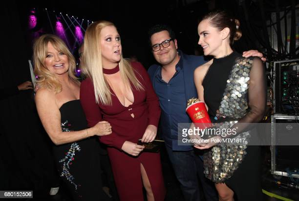 Actors Goldie Hawn Amy Schumer Josh Gad and Emma Watson winner of Best Actor in a Movie for 'Beauty and the Beast' attend the 2017 MTV Movie And TV...