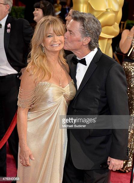 Actors Goldie Hawn and Kurt Russell attend the Oscars held at Hollywood Highland Center on March 2 2014 in Hollywood California
