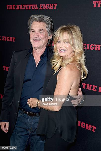 Actors Goldie Hawn and Kurt Russell attend the Premiere of The Weinstein Company's 'The Hateful Eight' at ArcLight Cinemas Cinerama Dome on December...